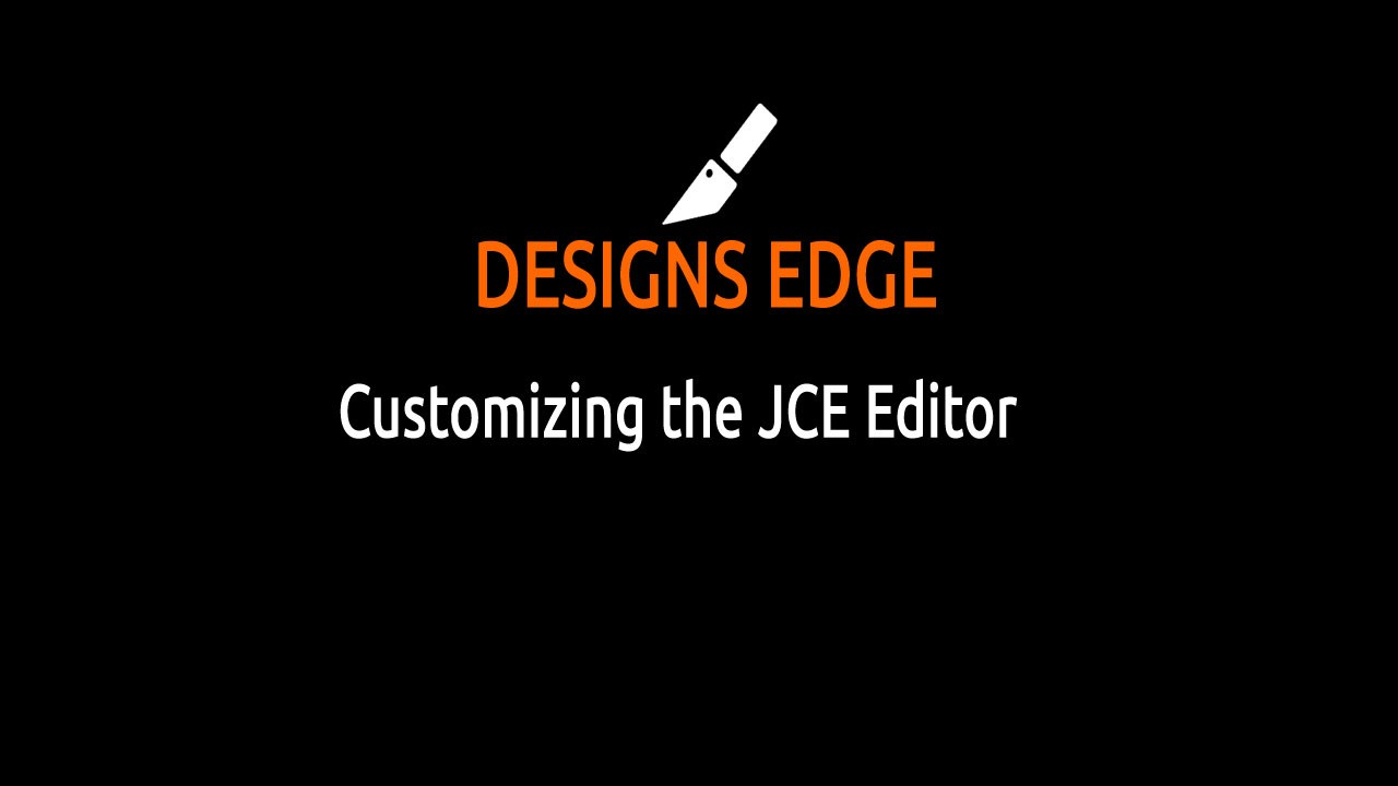 Customizing the JCE Editor - Making it simpler!